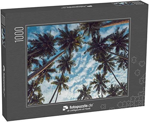 fotopuzzle.de Puzzle 1000 Teile Kokospalmen am tropischen Strand Vintage Film farbig gefiltert