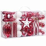 Valery Madelyn Palle di Natale 100 Pezzi di Palline di Natale, 3-5 cm Decorazione Tradizionale Rossa e Bianca Infrangibile con Palle di Natale per la Decorazione Dell'Albero di Natale