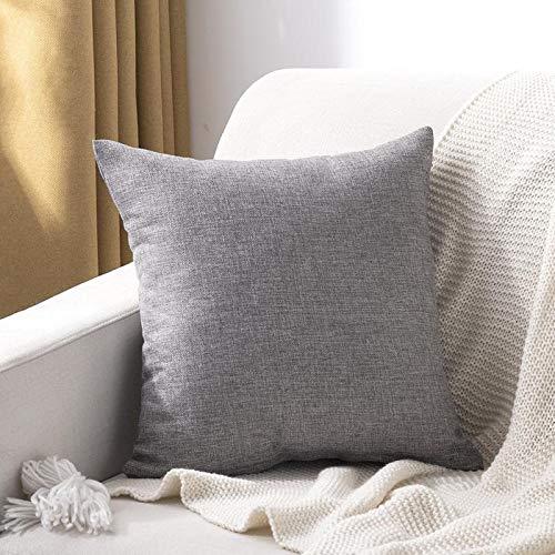 WYSTLDR Cojín de sofá para el hogar de Color sólido, Almohada Cuadrada Gruesa de algodón y Lino Liso, Almohada con Respaldo para Sala de Estar Temperamento Gris 50x50cm (con núcleo)