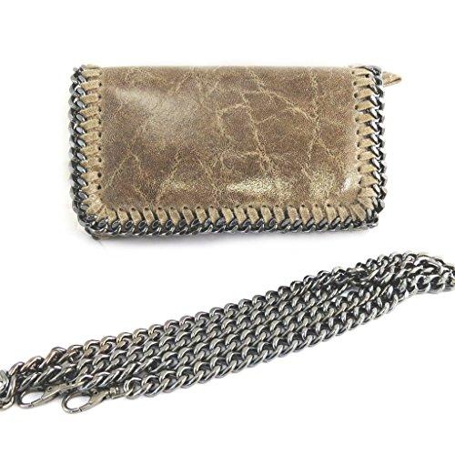Francinel [N2493 - Ledertasche 'Scarlett' glänzend taupe (21.5x13x6 cm).
