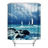 Poseca Duschvorhang, Duschvorhänge Badewannenvorhang mit Anti-Schimmel-Effekt, Wasserdichter Duschvorhang 150x180cm inkl.12pcs Ringe (M)
