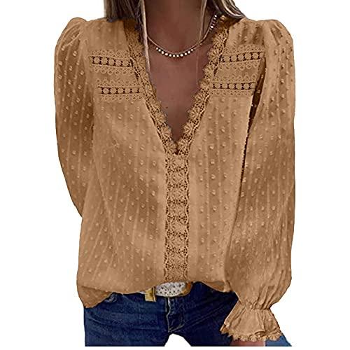 XOXSION Camiseta para mujer, moderna, de encaje, cuello en V, de gasa, de manga larga, holgada, informal, blusa de manga larga, elegante, básica., caqui, L