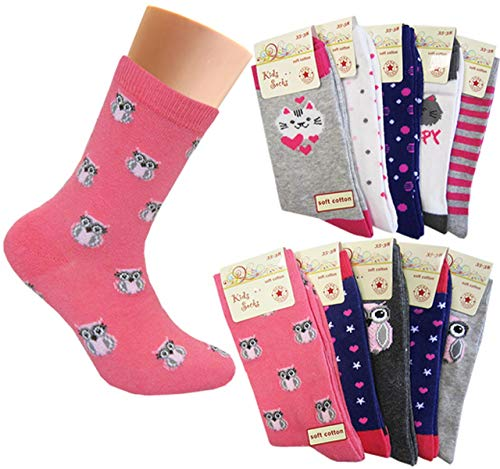 10 Paar Mädchen Socken | Kinder Strümpfe | Kindersocken 31-34 / mehrfarbig
