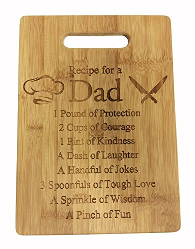 Recipe for a Dad Cute Laser Engraved Bamboo Cutting Board