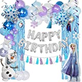 👑Frozen Party Supplies Set: This birthday party decorations pack includes ✔1 Happy Birthday Balloons✔6 Foil Balloon ✔2 Fringe Curtain Streamer ✔6 Hanging Cards ✔6 Hanging Swirls ✔ 3 Pack Paper Tassels ✔50 Latex Balloons ✔1 coil ✔1 double-sided tape ✔...