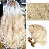 60cm - Extensiones de Queratina Cabello Humano 1g * 100 Mechas U Tip Hair Extensions Pelo Natural - 60# Rubia Platino
