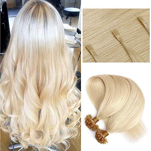Bonding Extensions Echthaar Haarverlängerung Keratin U Tip 1g/Strähne 100g/Packung Günstig Natürlich Weich Haarteil 60cm 60# Platinblond