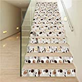 Stair Riser Refurbished Stair Treads Decals, Coffee Espresso Cappuccino Drink, for Stairway or Home Decoration, W39.3 x H7.08 Inch x13PCS