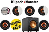 Klipsch CDT-3650-C II 6.5' In-Ceiling Speaker (Qty 5) + Klipsch R-10SW Powerful 10' 300 watts Subwoofer + Monster - Platinum XP Clear Jacket MKIII 50' Compact Speaker Cable - Clear/Copper Bundle