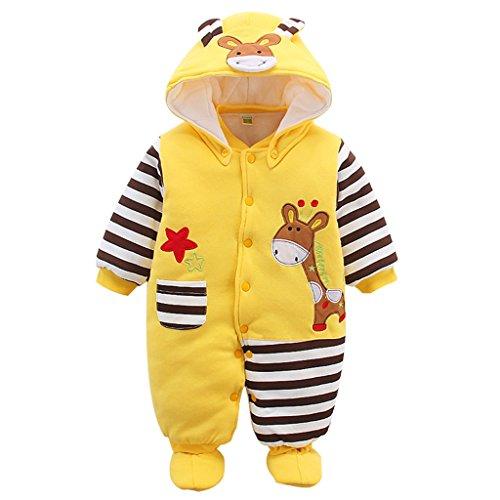 Neugeborene Baby Overall Mit Kapuze Footies Strampler Winter Schneeanzüge Karikatur Jumpsuit Onesies, Giraffe 0-3 Monate