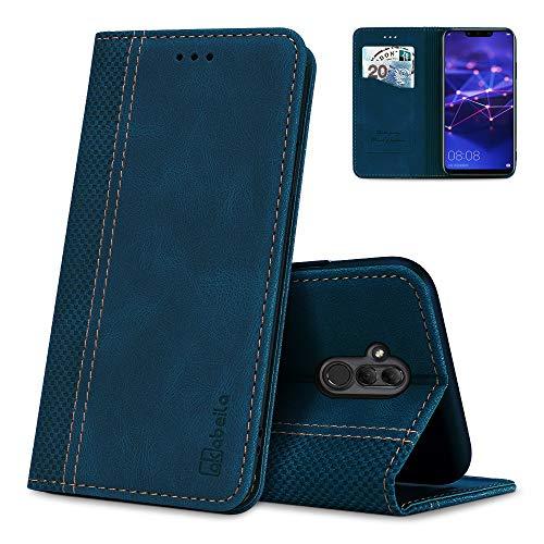 AKABEILA Huawei Mate 20 Lite Hülle Leder, Huawei Mate 20 Lite Handyhülle Silikon, Kompatibel für Huawei Mate 20 Lite Schutzhülle Brieftasche Klapphülle PU Magnetverschluss Kartenfächer Hüllen, Blau