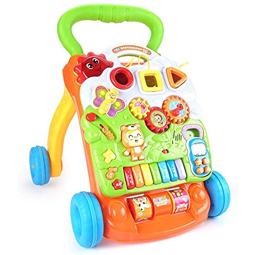 kaige Start Push The Walker 1-2 Jahre alt Baby-Musik-justierbare Geschwindigkeits-Walker Multifunktions-Learning to Walk (Farbe: Gelb, Größe: 38 * 42 * 46cm) WKY (Color : Yellow)