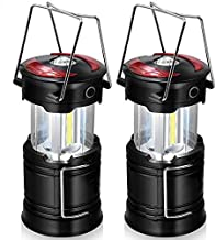 Pack of 2Pcs 2 in 1 COB+Red LED Tent Lamp Outdoor Camping Light Portable Lantern Working Lighting 4 Lighting Mode for Outd...