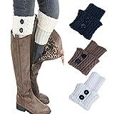 ZYUEER 3 pair socks Femmes Hiver Chaud Épais Crochet Tricoté Botte Manchette Chaussette Jambe Courte Warmer Boot Cuff Sock Short Leg Warmer pour bottes (Multicolore B)