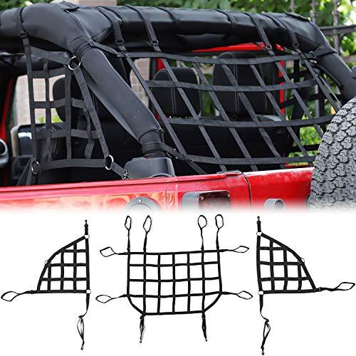 RT-TCZ Cargo Net, 3 Set Mesh Cargo Roof Net for Jeep Wrangler JK JKU 2007-2018 4 Door (Black)