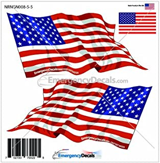 Waving reflective American flag 4.75 inch decal W/ left & right flags and bonus flag