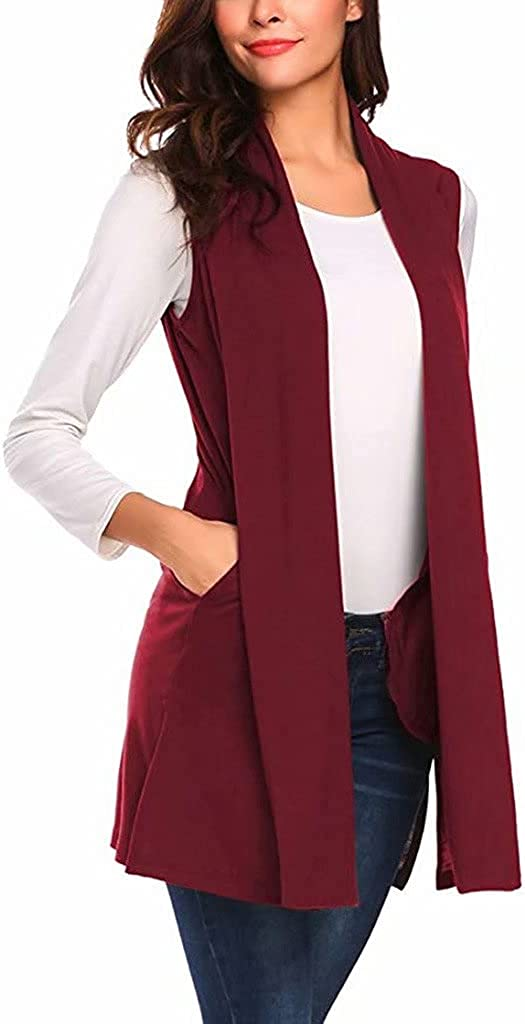 Summer Sleeveless Long Cardigan Vest for Women Casual Drape Open Front Classic Shawl Cardigans with Pockets