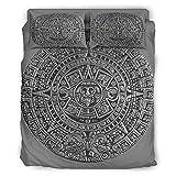 YOUYO Spark Juego de cama maya ancestral colorido hermoso – cama cumpleaños blanco 203 x 230 cm