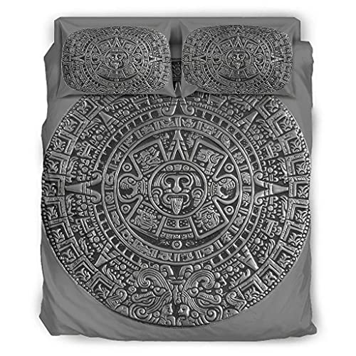 Viiry 4 Piece Bed Set Ancient Incan Mayan Colorful Super Soft Microfiber Design - Bed Sheets white 228x264cm