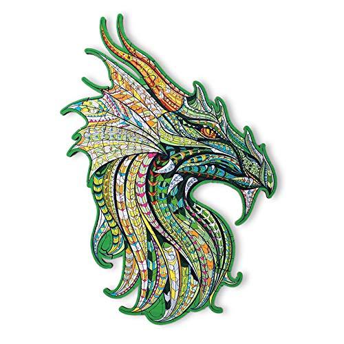 Rompecabezas de Madera | Rompecabezas de Animales de Madera de dragón de Forma única | Puzzle Animales para Adultos y Niños (D)