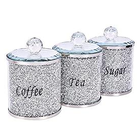 3PCS Luxurious Diamond Style Sugar Coffee Tea Jars,Kitchen Storage Containers Set,Glass Jars for Home Decor,Festival…