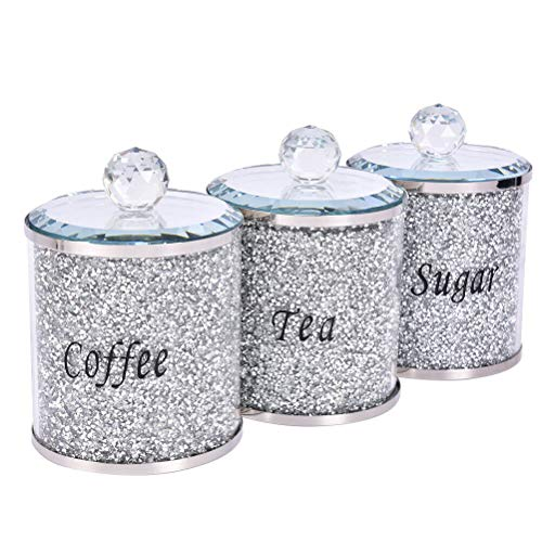 Juego de 3 tarros de té con diseño de diamante, para cocina, tarros de cristal para decoración del hogar, regalos de festival y regalos de negocios para familia y amigos