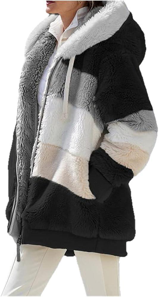 Winter Women Jacket Warm Plush Casual Loose Hooded Coat Mixed Color Patchwork Winter Outwear Faux Fur Zipper Ladies Parka Coat - black,S