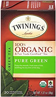 Twinings of London Organic and Fair Trade Certified Pure Green Tea Bags, 20 Count (Pack of 6)