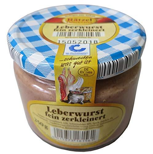 Feine Leberwurst im Glas 250g - Hausmacher Wurst - leckerer Brotaufstrich - Kochwurstspezialität aus Schweinefleisch und frischer Leber WF-18156
