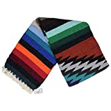 Mexican Yoga Blanket, Navajo Aztec Diamond XL Thick Serape with Stripes-Red Earth