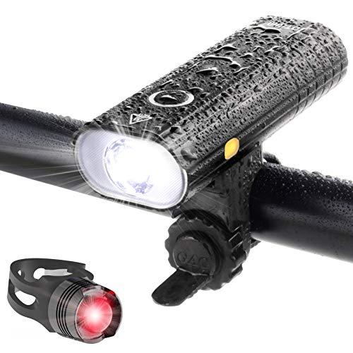 自転車 ライト LED 防水 800ルーメン 2600mAh 大容量電池 USB充電式 自転車用ヘッドライト クロスバイク ロードバイク ライト ゴムシート付き テールライト付属 バッテリーインジケーター サイクルライト bike light 高輝度 長時間 夜間 キャンプ ハイキング サイクリング 懐中電灯 5つ 照明モード 点滅 スポーツ 防災 緊急対応 (アルミニウム)