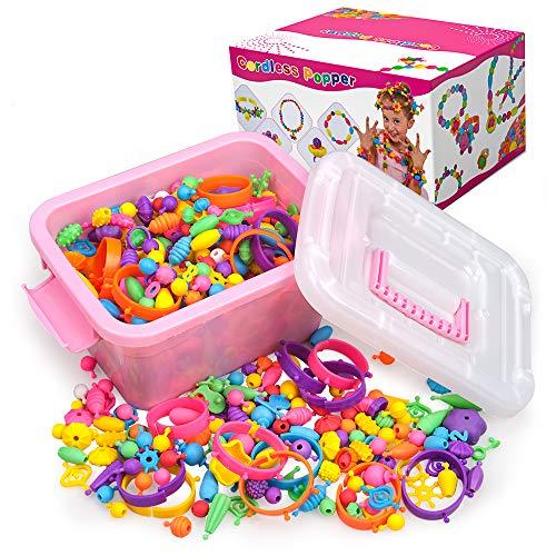 SUNTOY Geschenk für 5 6 7 8 Jahre alte Mädchen Kind, Pop Snap Beads Mädchen Spielzeug Alter 4 5 6 7 8 Mädchen Geburtstag DIY Schmuckherstellung Kit für Armbänder Halskette Stirnband