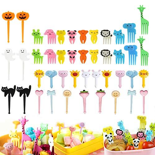 Animal Fruit Food Picks 44PCS, Halloween Bento Box Picks, LKAKA Mini Cartoon Animal Food Toothpicks, Lunch Bento Forks Picks for Kids (44PCS)