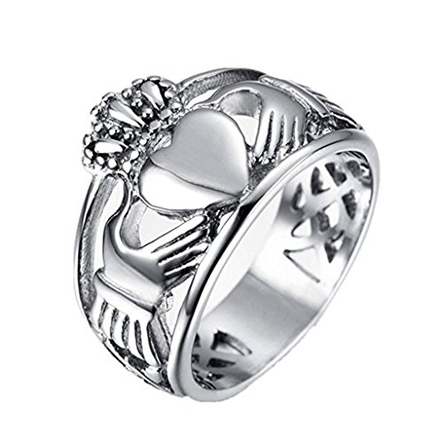 LEEYA NL28 Jewelry Men's Stainless Steel Crown Ring with Celtic Knot Eternity Design (13)