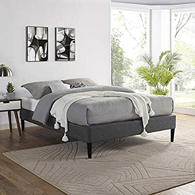 Classic Brands Palmetto Upholstered Platform Bed Frame / Mattress Foundation / Wood Slat Support / No Box Spring Needed, Grey, Full