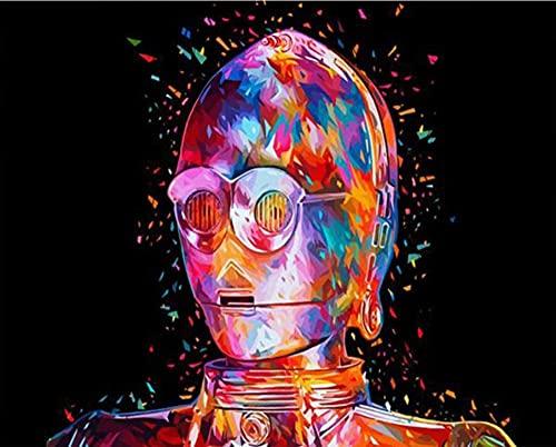 Kit de pintura digital de bricolaje robot de color pintura al óleo lienzo pintado a mano digital decoración del hogar arte de la pared regalo sin marco