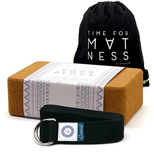 aGreenie Premium Bloque de Yoga de Corcho – Producto 100% Natural – Juego de 1 o 2 – Mediano o Grande – Bloque de Yoga para Fitness y Pilates – Incluye Mochila e Instrucciones de Ejercicios