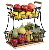 SunnyPoint 2-Tier Rectangle Countertop Fruit, Bread Wire Basket (Black, Metal + Wood base)