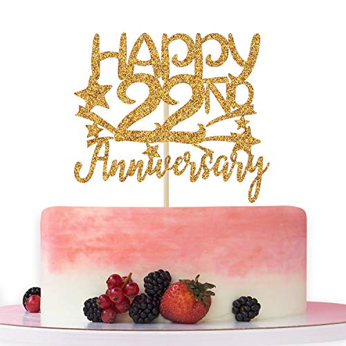 Gold Glitter Happy 22nd Anniversary Cake Topper for Wedding Anniversary/Anniversary Party/Happy Birthday Party Decorations