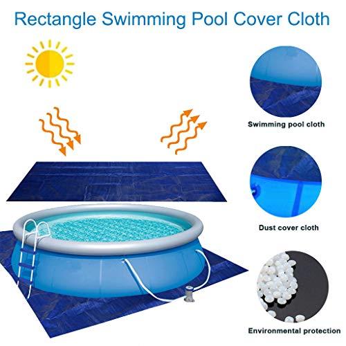 Yowablo Rechteckige Schwimmbadabdeckung für Garten-Außenpaddel-Familienpools (384 x 185 cm / 151 x 72,8 Zoll, Blau)