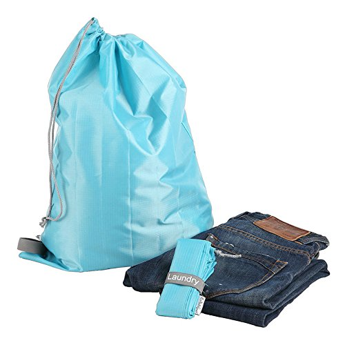 Travel Nylon Laundry Bag with Drawstring Closure / Foldable, Compact, Lightweight, Small Travel Size for Suitcase (22