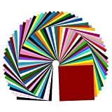 Permanentes selbstklebendes Vinyl 50 selbstklebendes Vinylfolien + 10 Blatt Transferband -12 x 12 Zoll - sortierte Farben Rückseite Vinyl Blätter für Cricut und Anderen Bastelschneidern