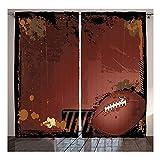 Wzz 3D Imprimés Image Rideaux De Sport Thème Rugby avec Éléments De Jeu Compétition Fenêtre du Salon De La Chambre À Coucher Ensemble De 2 Panneaux,Blackout,135W×160H(cm)×2