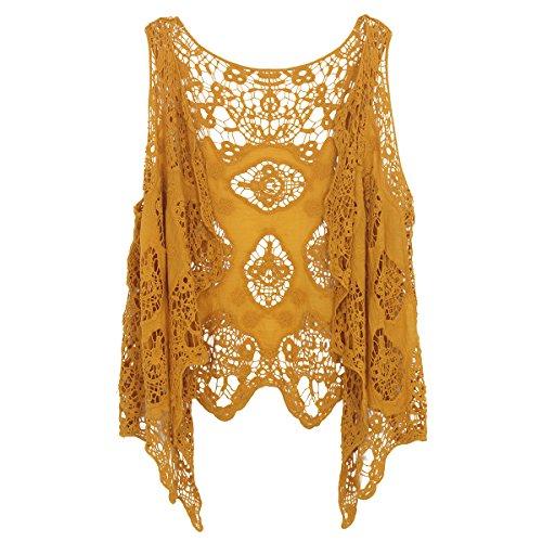 jastie Open Stitch Cardigan Boho Hippie Crochet Vest (Dark Yellow)