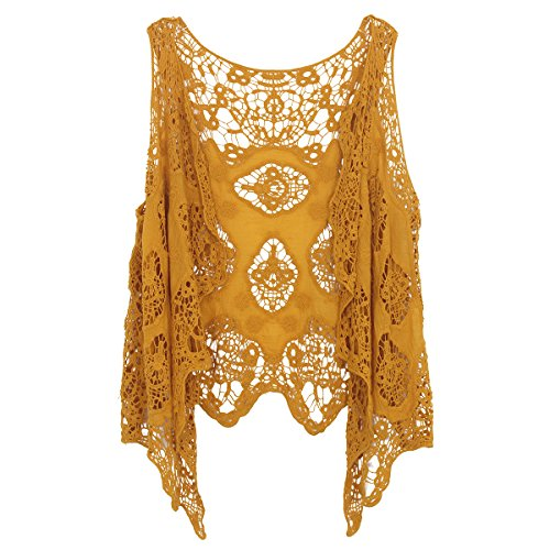 jastie Open Stitch Cardigan Boho Hippie Crochet Vest (Dark Yellow)