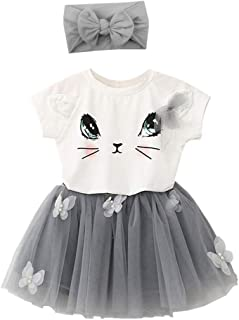 TRADERPLUS 3pcs Baby Girls Cat Short Sleeve T-Shirts + Tutu Skirt with Headbands Outfit Set