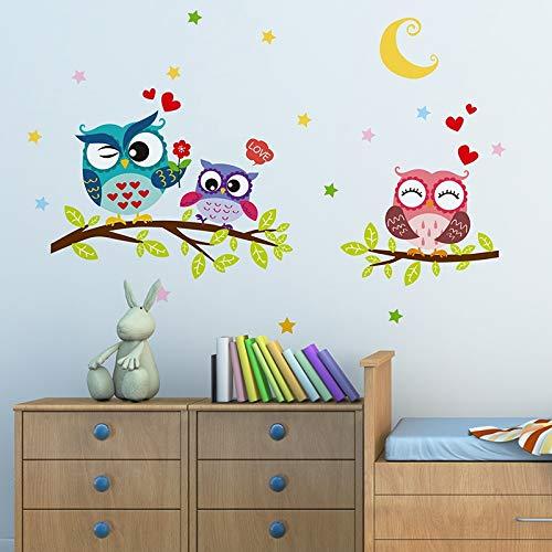 SPFOZ Haus Dekoration Tapete Aufkleber Glückliche entfernbare wasserdichte Karikatur-Tiereule-Wand-Aufkleber for Kinder Home Decor Tapeten for Wohnzimmer