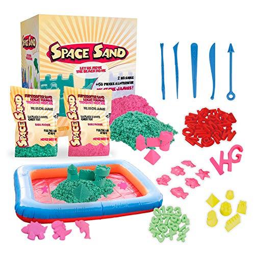 Leo & Emma Space Sand 1.8kg Set 50tlg. Formen Zahlen Buchstaben Burg Modellierwerkzeug Modellierwanne, kinetischer magischer Sand, viele Farben, TÜV getestet (0.9kg rosa und 0.9kg türkis)