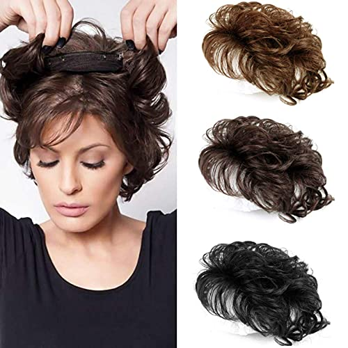 Maery Natural Weave Human Hair Topper Dark Brown Curly Hair Topper Clip in Hairpiece Short Curly Hair Weaving Hair Replacement Top Crown Hairpieces for Women with Lossing Hair 6inch 13x13cm