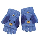 RARITY-US (2-8Y) Convertible Flip Top Gloves, Knit Winter Warm Fingerless Half Finger Mittens for Kids Boys Girls, (3-8y)blue, 3-8Y